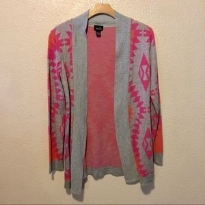 Rue21 Aztec print cardigan in pink and orange